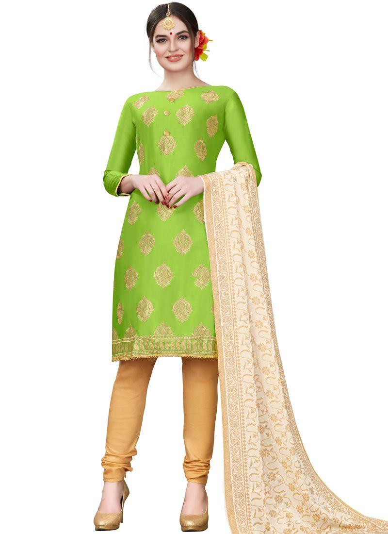Cotton Embroidered Green Churidar Designer Suit