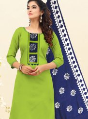 Cotton Embroidered Green Churidar Salwar Suit