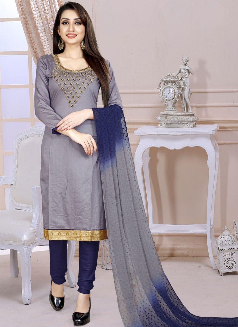 Cotton Embroidered Grey Churidar Designer Suit