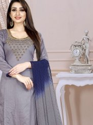 Cotton Embroidered Grey Churidar Designer Suit