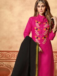 Cotton Embroidered Hot Pink Churidar Designer Suit