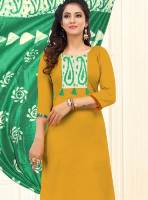 Cotton Embroidered Mustard Trendy Churidar Salwar Kameez