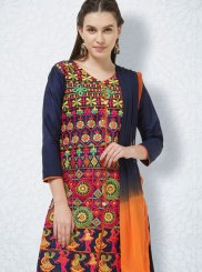 Cotton Embroidered Navy Blue Churidar Salwar Suit