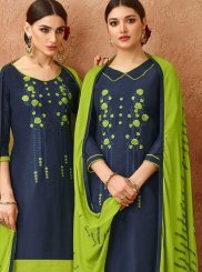 Cotton Embroidered Navy Blue Designer Salwar Kameez