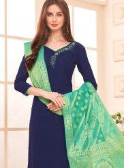 Cotton Embroidered Navy Blue Salwar Kameez