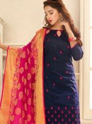 Cotton Embroidered Navy Blue Trendy Churidar Salwar Suit