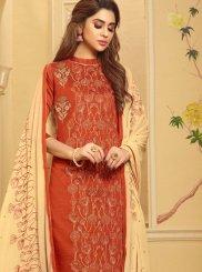 Cotton Embroidered Orange Churidar Suit