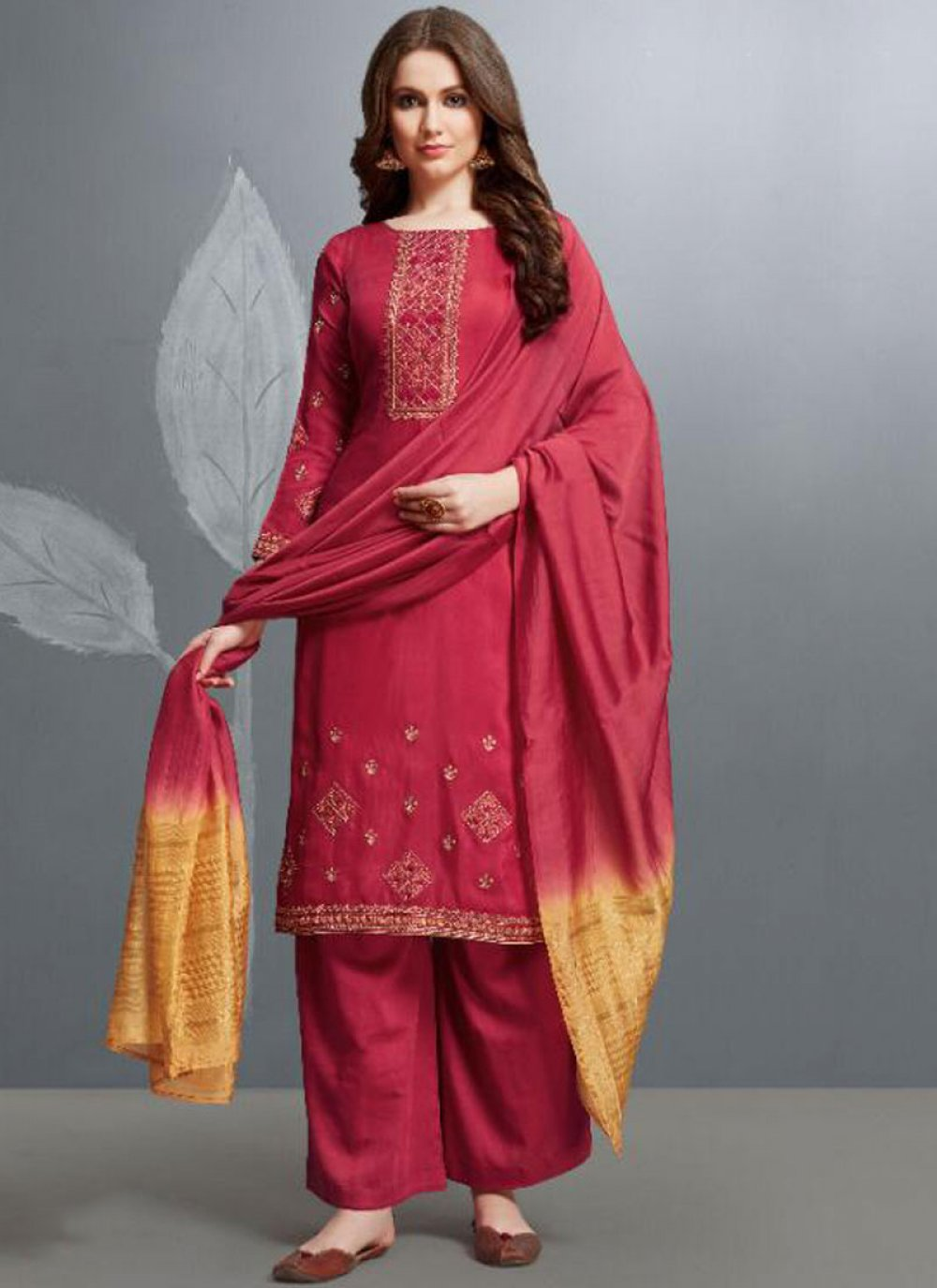 Cotton Embroidered Palazzo Designer Salwar Suit