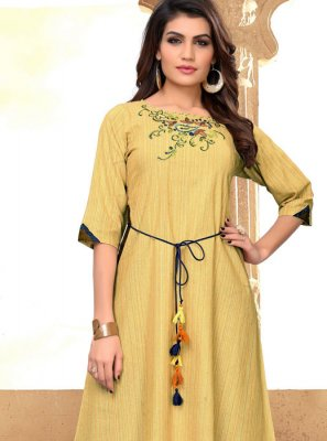 Cotton Embroidered Party Wear Kurti in Yellow