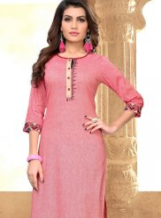 Cotton Embroidered Pink Party Wear Kurti