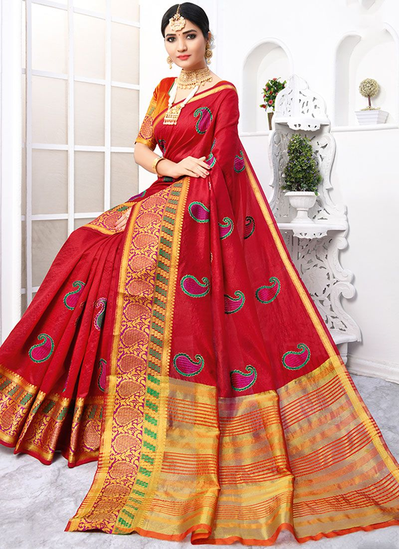 Cotton Embroidered Red Designer Traditional Saree