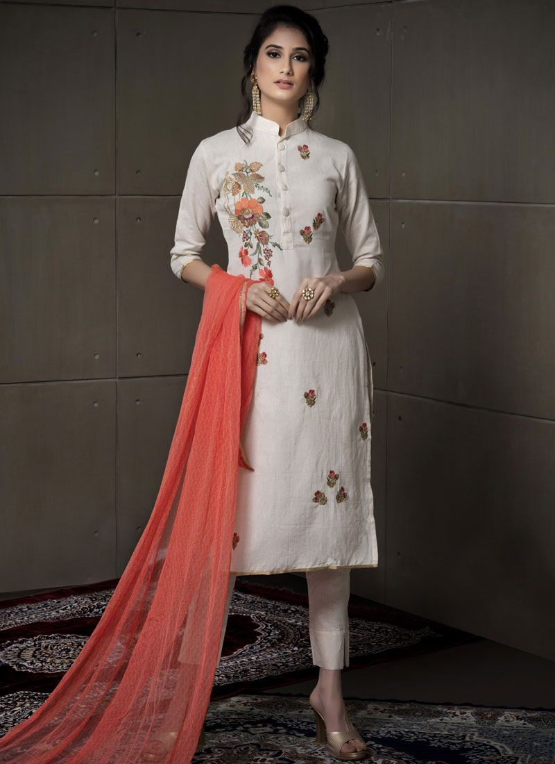 Cotton Embroidered Salwar Kameez in Off White