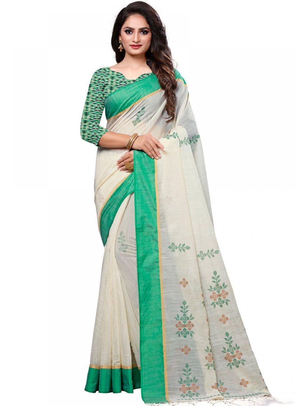Cotton Embroidered White Designer Traditional Saree