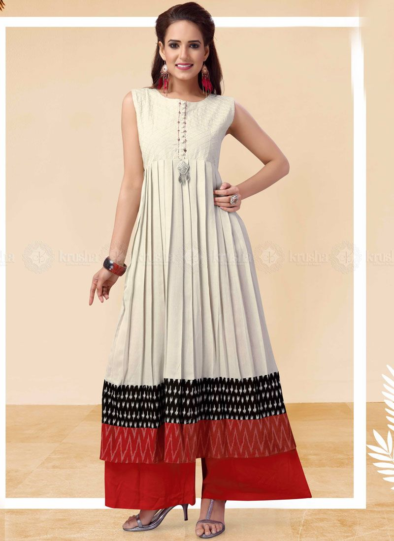 Cotton Embroidered White Party Wear Kurti