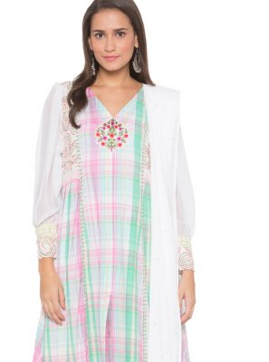 Cotton Embroidered White Readymade Suit