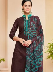 Cotton Embroidered Wine Pakistani Suit
