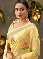 Cotton Embroidered Yellow Trendy Saree