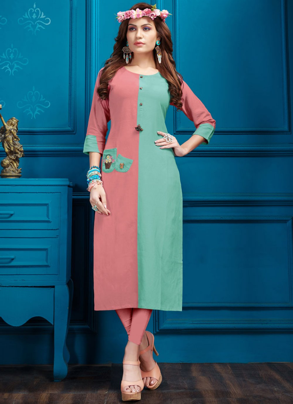 Cotton Fancy Green and Pink Party Wear Kurti