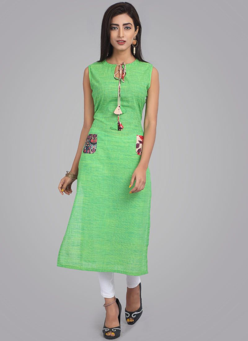 Cotton Fancy Green Casual Kurti
