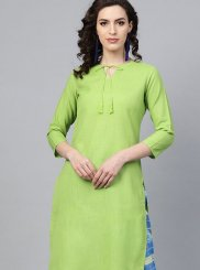 Cotton Fancy Green Party Wear Kurti