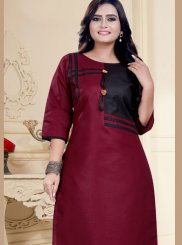 Cotton Fancy Maroon Party Wear Kurti