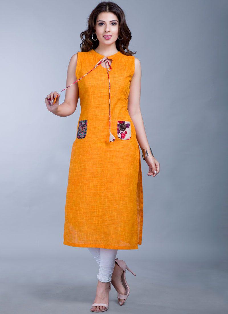Cotton Fancy Orange Casual Kurti