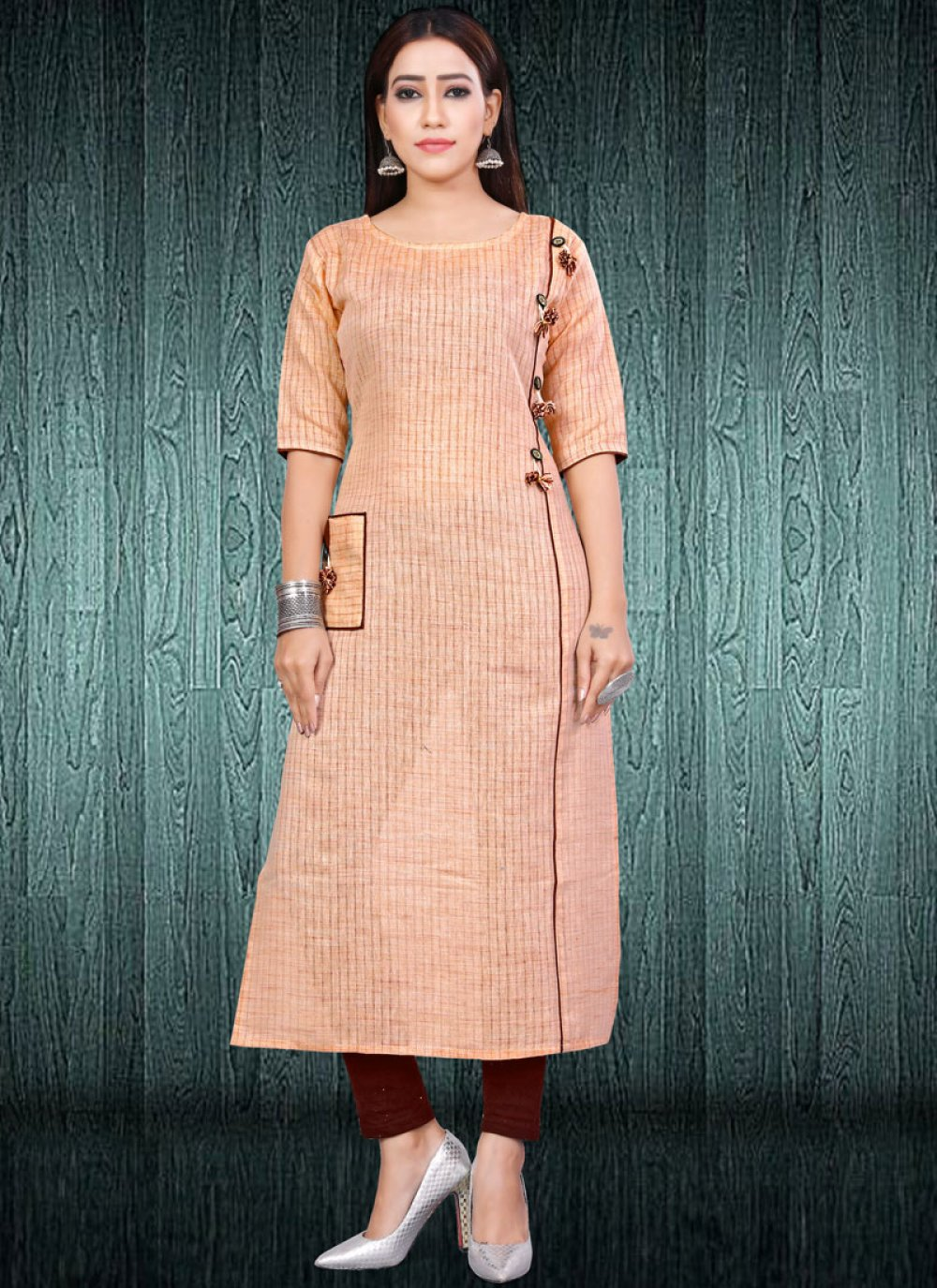 Cotton Fancy Peach Party Wear Kurti