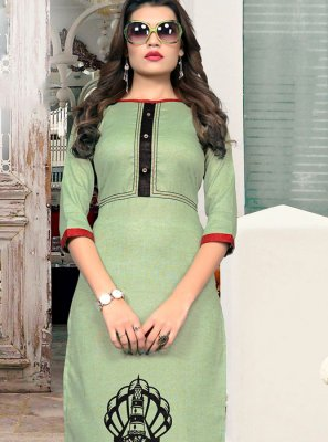 Cotton Fancy Sea Green Casual Kurti