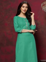 Cotton Fancy Sea Green Party Wear Kurti