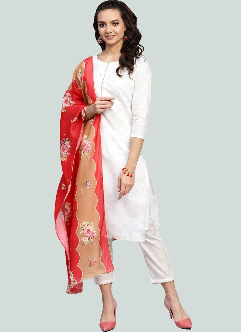 Cotton Fancy White Readymade Suit