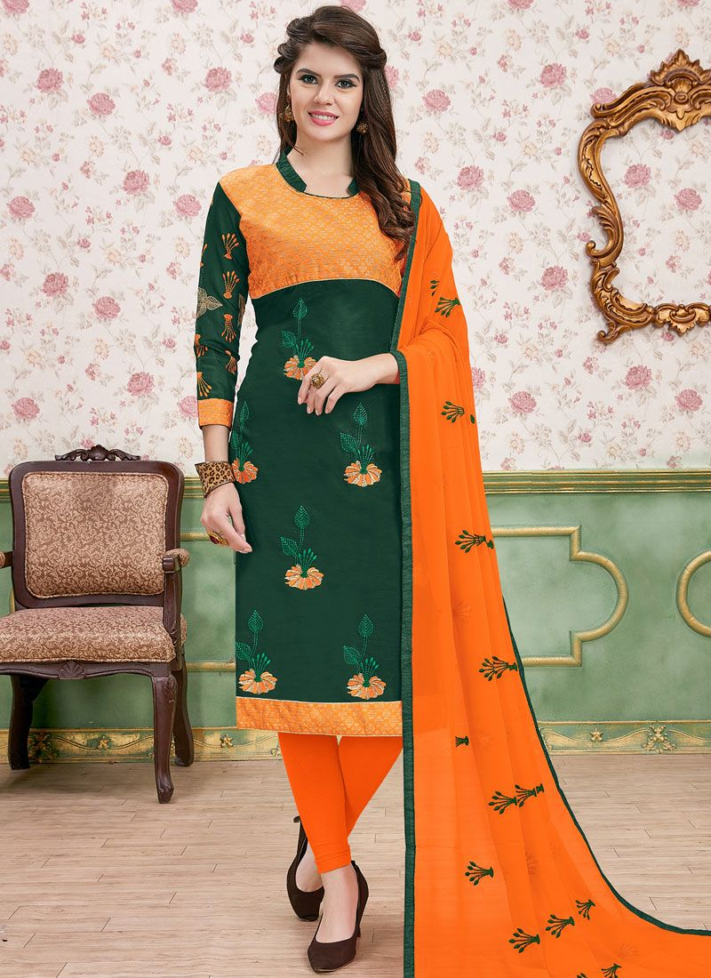 Cotton   Green Churidar Salwar Kameez