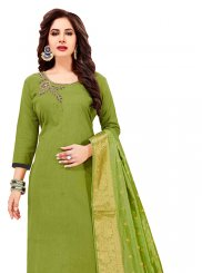 Cotton   Green Embroidered Churidar Designer Suit