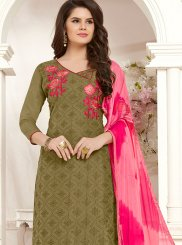 Cotton Green Embroidered Churidar Salwar Suit