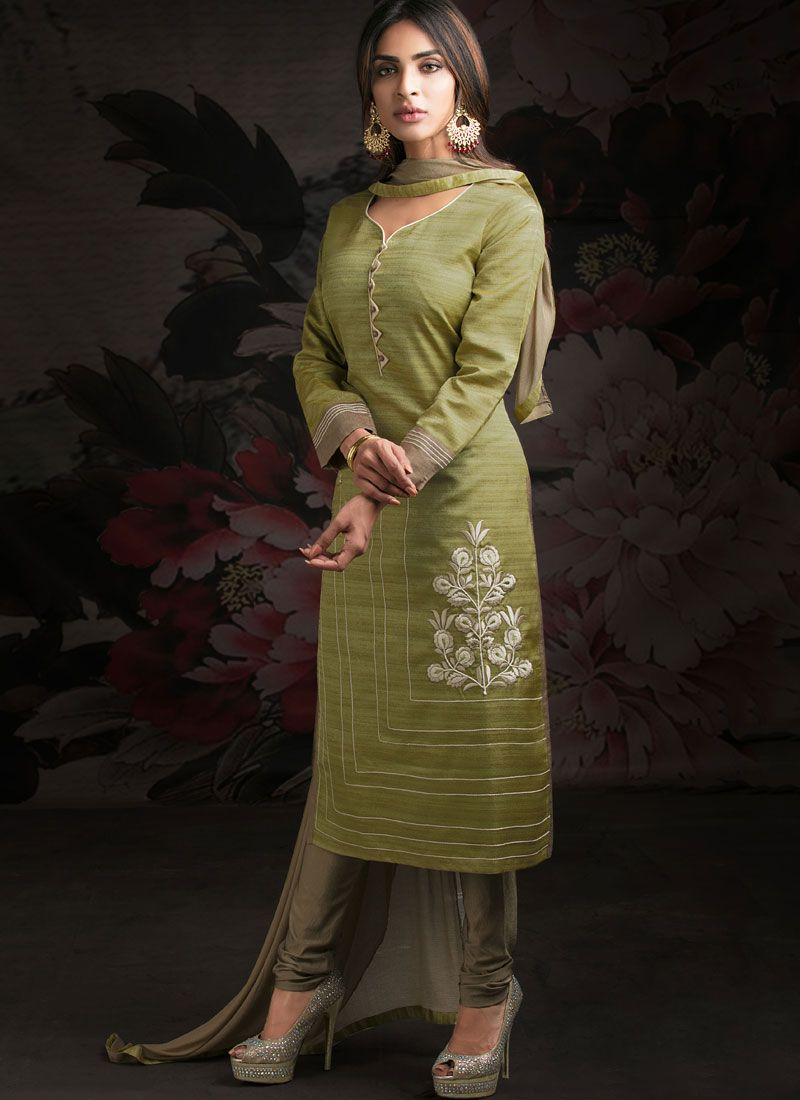 Cotton Green Embroidered Churidar Suit
