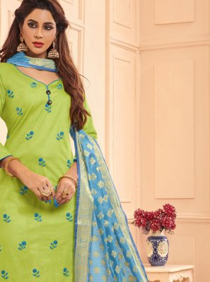 Cotton Green Embroidered Designer Straight Salwar Suit