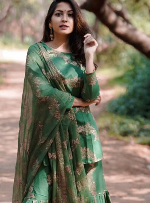 Cotton Green Fancy Readymade Suit