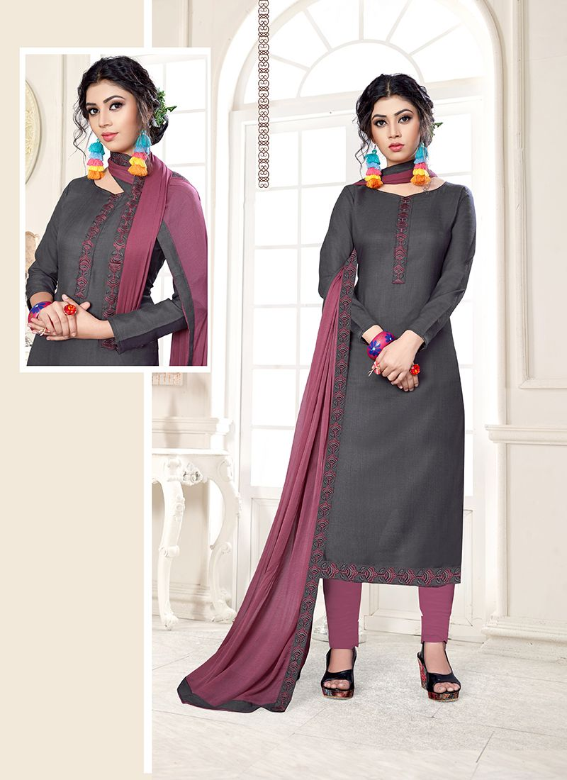 Cotton Grey Designer Straight Suit
