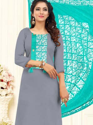 Cotton Grey Embroidered Churidar Designer Suit