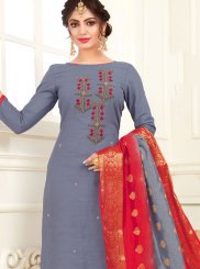 Cotton Grey Embroidered Churidar Suit