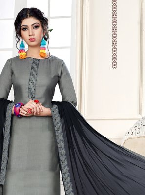 Cotton Grey Embroidered Designer Straight Suit