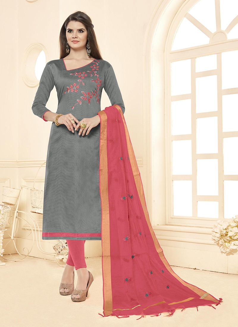 Cotton Grey Embroidered Salwar Suit