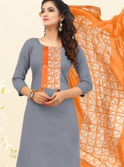 Cotton Grey Embroidered Trendy Churidar Suit