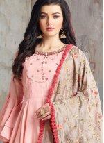 Cotton Handwork Pink Readymade Anarkali Suit
