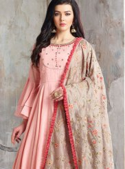 Cotton Handwork Pink Readymade Anarkali Suit