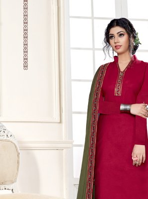 Cotton Hot Pink Designer Straight Suit