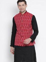 Cotton Kurta Payjama With Jacket in Black