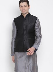 Cotton Kurta Payjama With Jacket in Grey