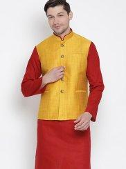 Cotton Kurta Payjama With Jacket in Maroon