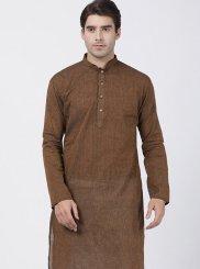 Cotton Kurta Pyjama in Brown