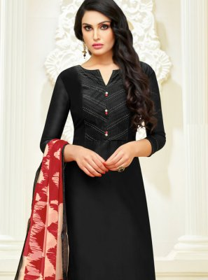 Cotton Lace Churidar Designer Suit in Black